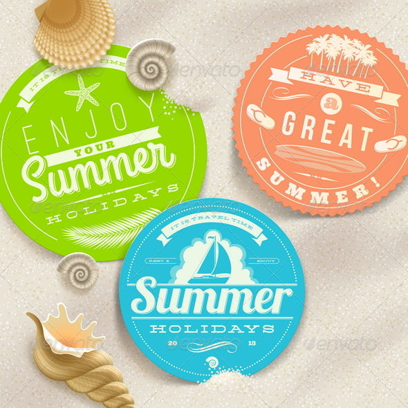 Summer Vacation and Travel Labels - Travel Conceptual