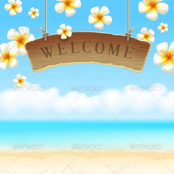 Signboard Welcome Over Tropical Beach - Travel Conceptual