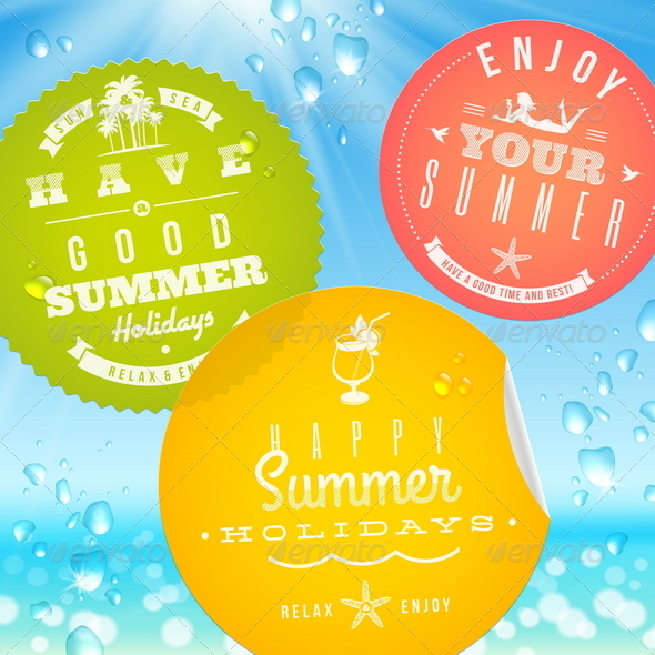 Stickers with Summer Vacation and Travel Emblems - Travel Conceptual