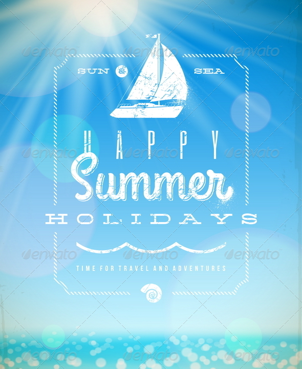 Summer Holiday Vector Illustration - Travel Conceptual