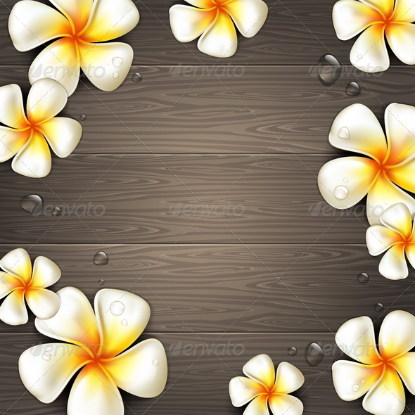 Tropical Flowers on a Wooden Background - Nature Conceptual