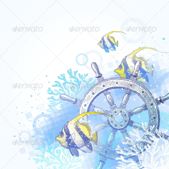 Underwater Scene with Hand Drawn Elements - Travel Conceptual