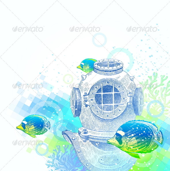 Vintage Diving Helmet and Tropical Fishes  - Travel Conceptual
