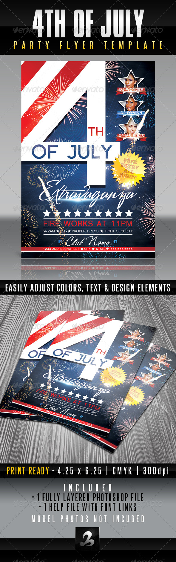 4th of July Party Flyer Template - Clubs & Parties Events
