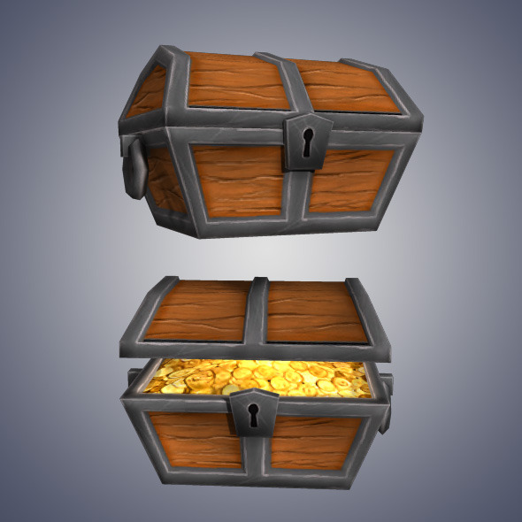 Low Poly Gold Chest - 3DOcean Item for Sale