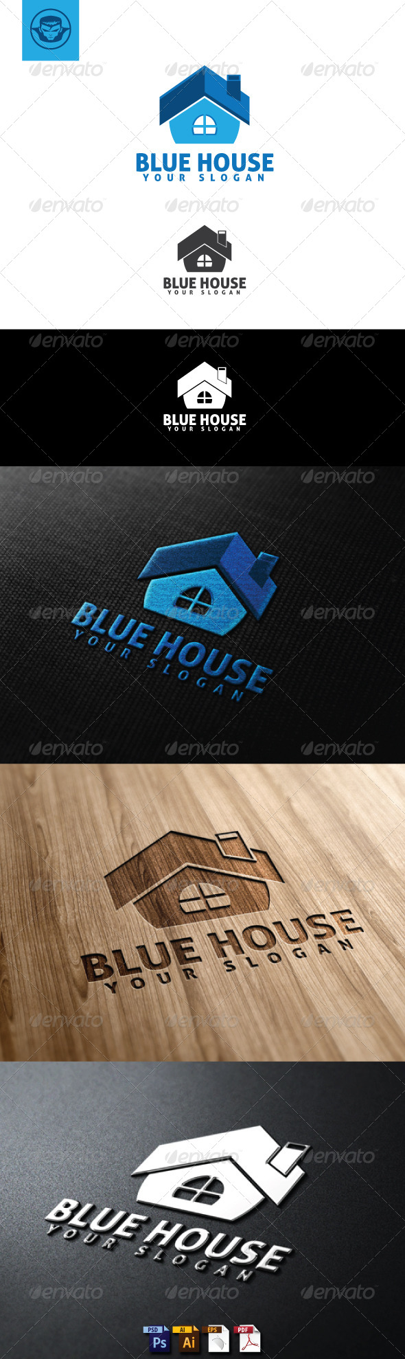 Blue House Logo Template - Buildings Logo Templates