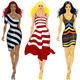 Vector set beautiful girls in a striped dresses - GraphicRiver Item for Sale
