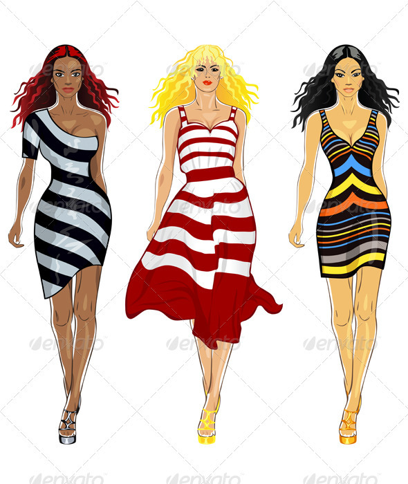 Vector set beautiful girls in a striped dresses - People Characters