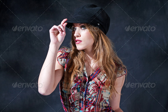 Mysterious girl with hat - Stock Photo - Images