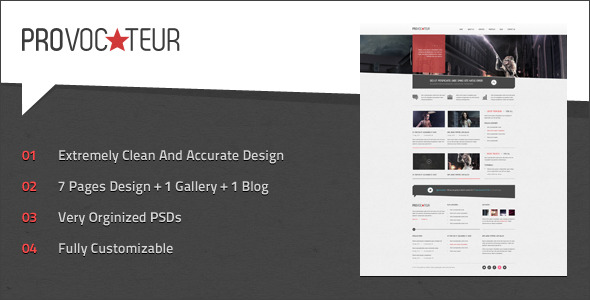 Free Download Provocateur - Creative PSD Template Nulled Latest Version