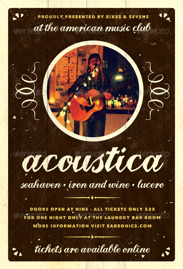 Acoustica - Acoustic Unplugged Flyer Template - Concerts Events