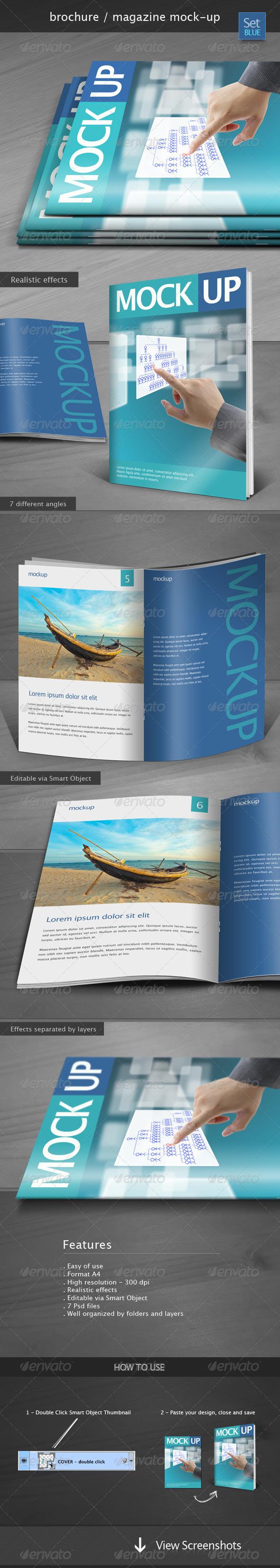 Brochure / Magazine Mock-up Set Blue - Brochures Print