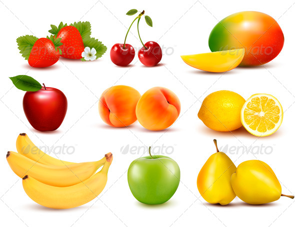 Big Group of Different Fruit Vector - Food Objects