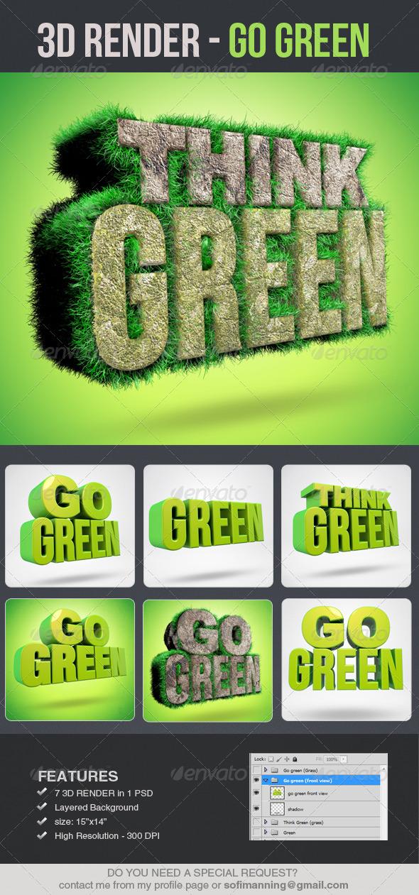 Go Green 3D Renders - Text 3D Renders