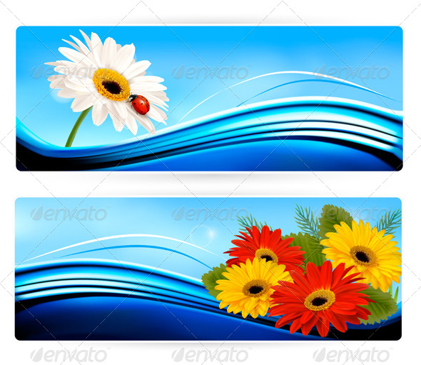 Nature Banners with Color Flowers Vector - Flowers & Plants Nature