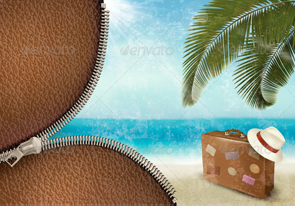 Vintage Seaside Background with Suitcase - Travel Conceptual