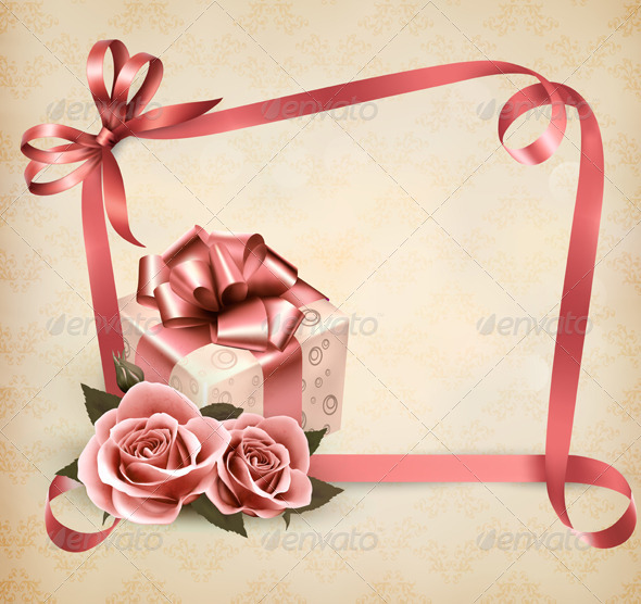 Holiday Background with Pink Roses and Gift Box - Birthdays Seasons/Holidays