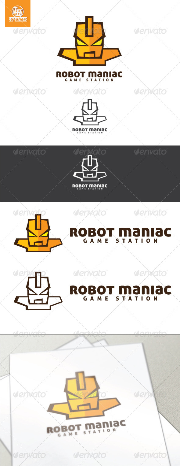 Robot Maniac Logo Template - Humans Logo Templates