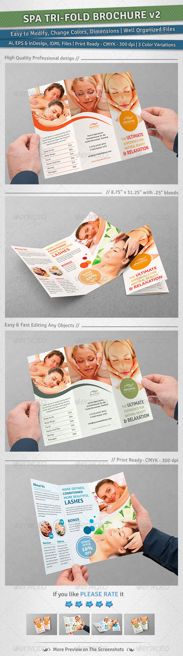 Spa Tri-Fold Brochure | Volume 2 - Corporate Brochures