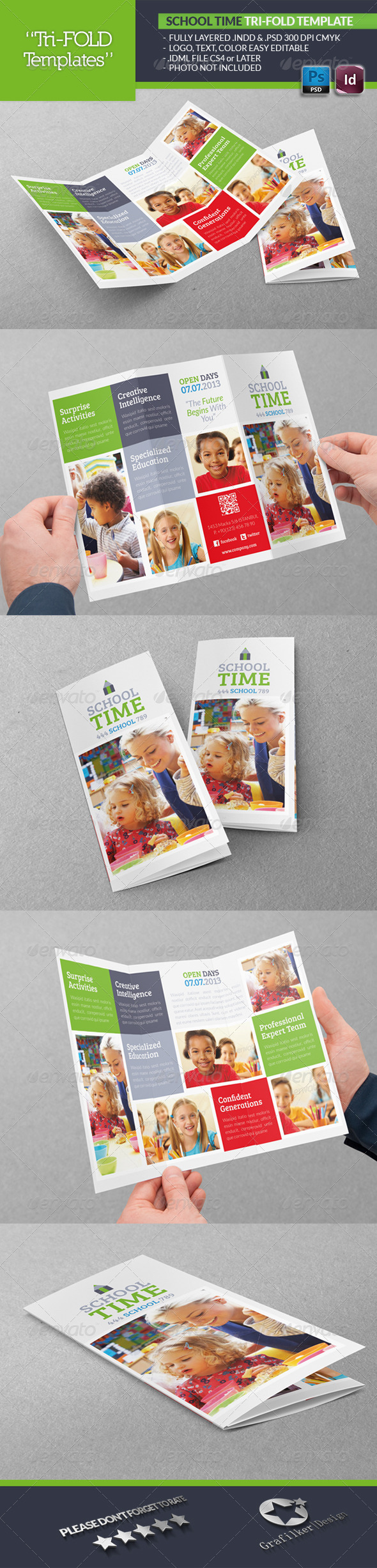 School Time Tri-Fold Template - Brochures Print Templates
