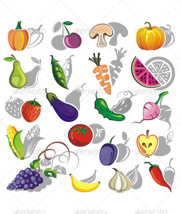 Fruits and Vegetables Vector Collection - Food Objects