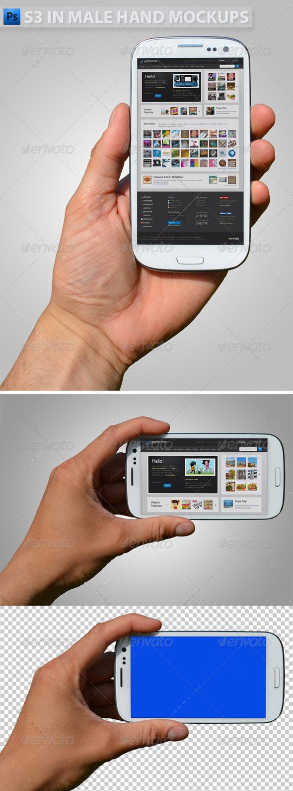 S3 in Hand Mock-ups - Mobile Displays