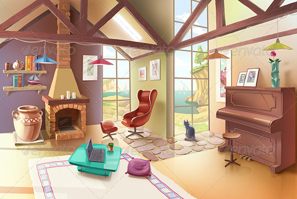 Light Living Room Interior - Scenes Illustrations