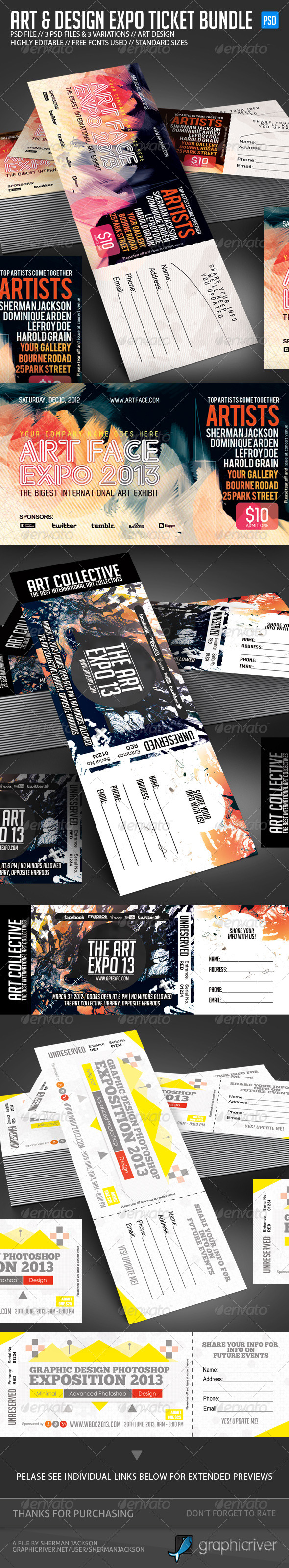 Design & Art Expo Show Passes/Tickets Bundle - Miscellaneous Print Templates