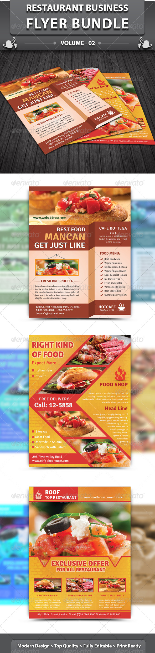 Restaurant Business Flyer | Bundle 2 - Restaurant Flyers