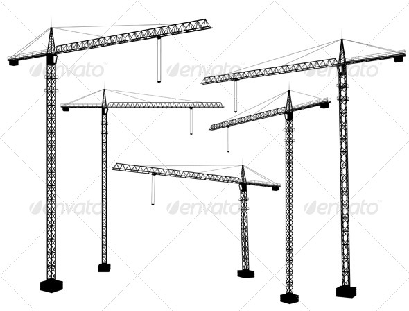Crane Silhouettes - Buildings Objects