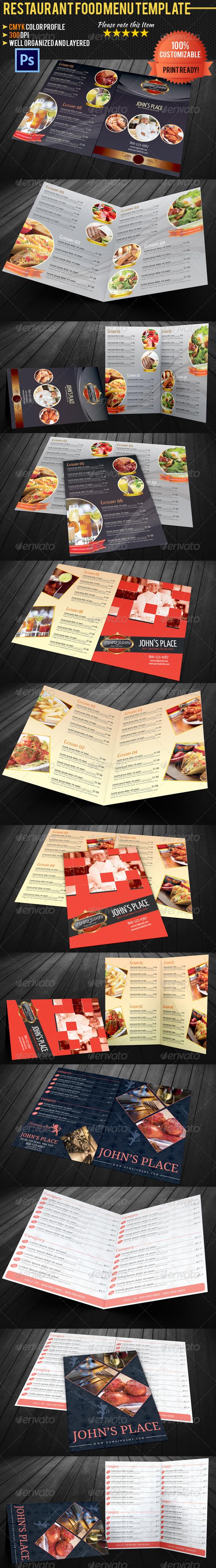 Bi-fold Restaurant Food Menu Template Bundle - Food Menus Print Templates