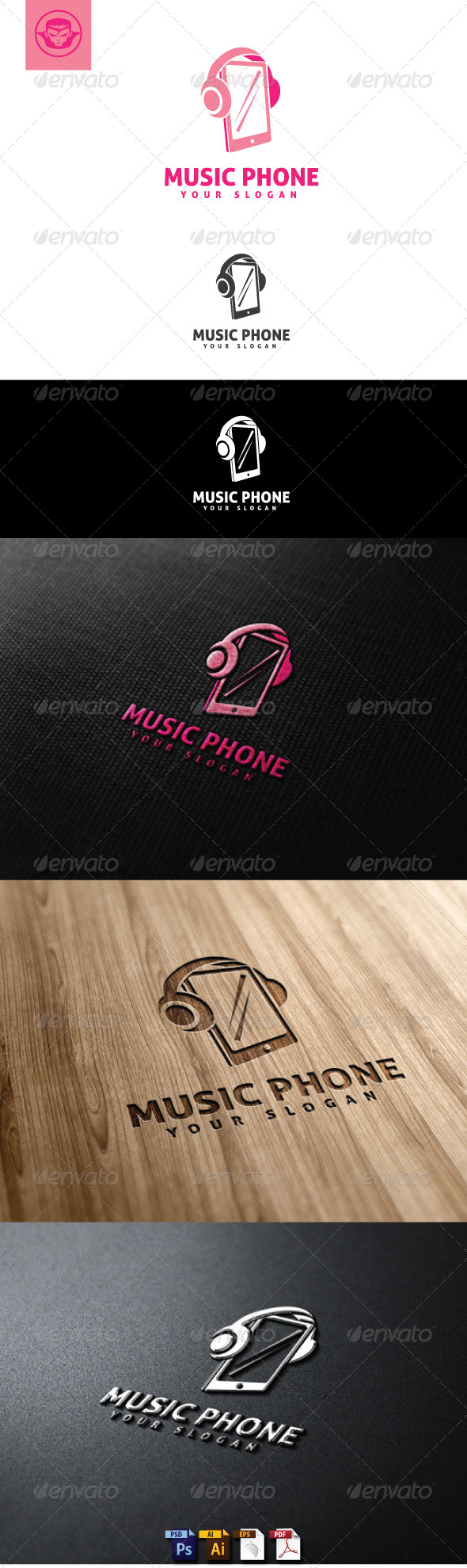 Music Phone Logo Template - Objects Logo Templates