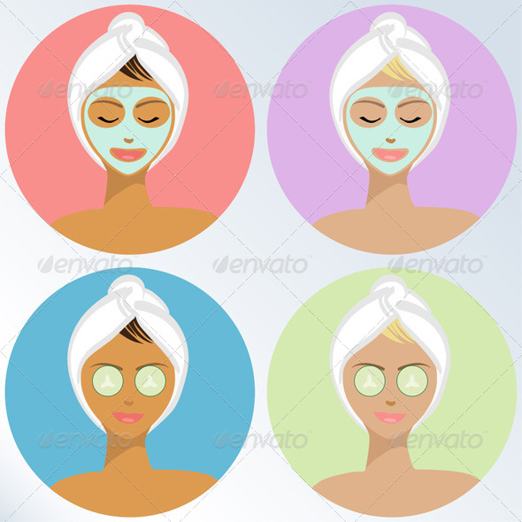 Young Woman At The Spa - Vector Illustration - People Characters