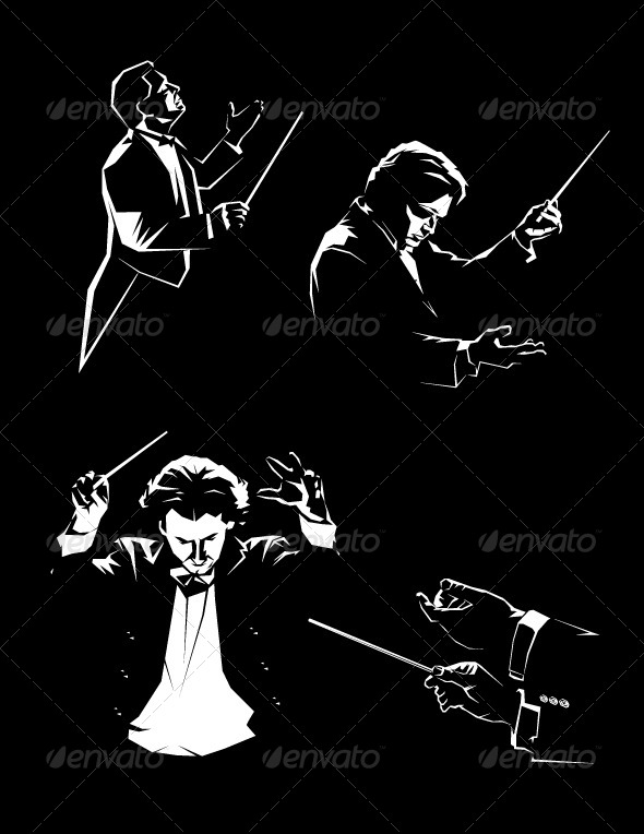 Silhouette of the Orchestral Conductor - People Characters