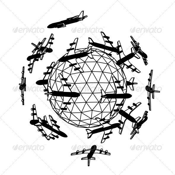 Globe with Airplane. - Abstract Conceptual