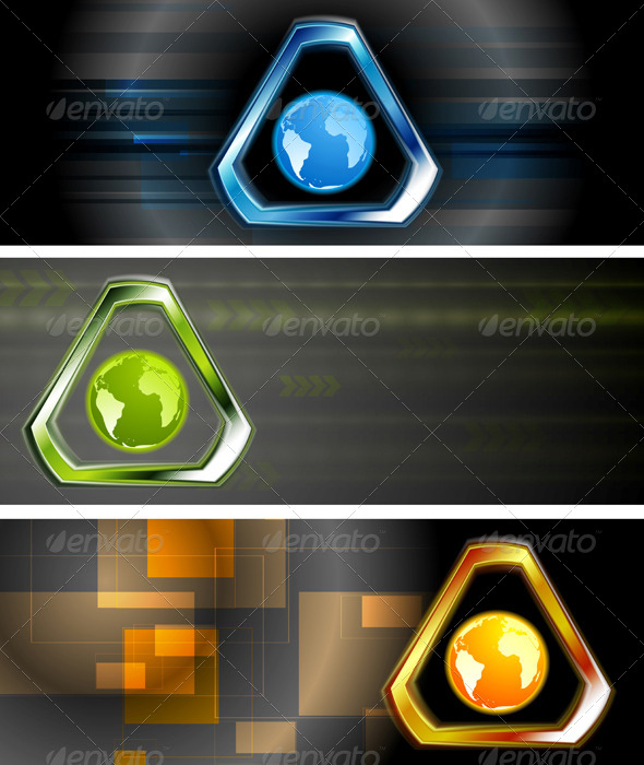 Abstract Hi-Tech Vector Banners - Backgrounds Decorative