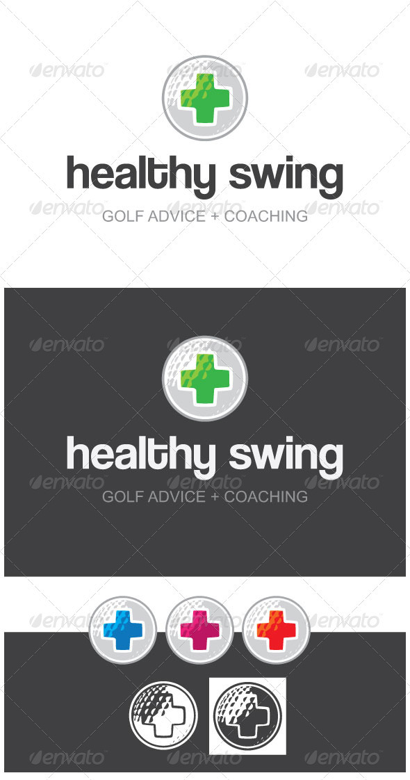 Healthy Swing Golf Advice + Coaching Logo Template - Logo Templates