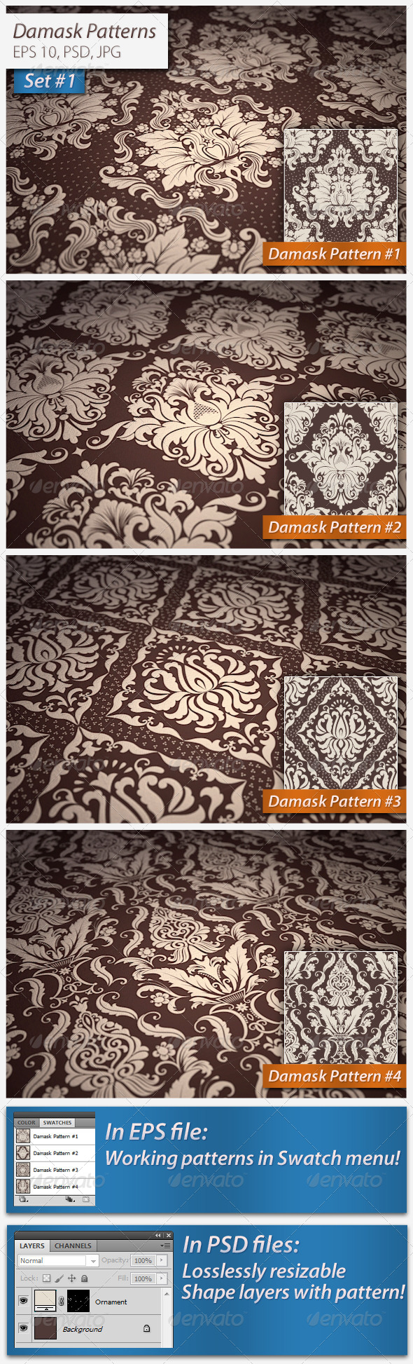 Seamless Damask Patterns Set#1 - Patterns Decorative