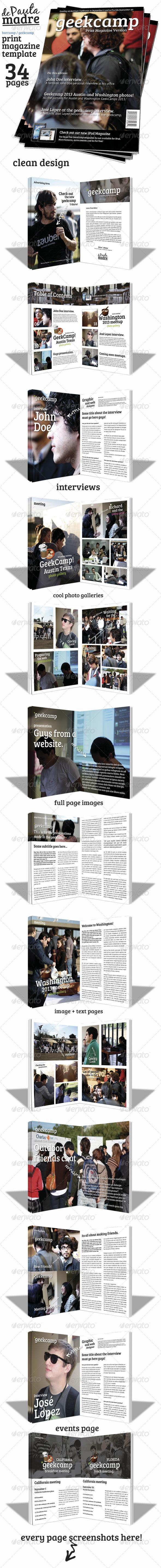 Barcamp-Geekcamp Magazine Template - Magazines Print Templates