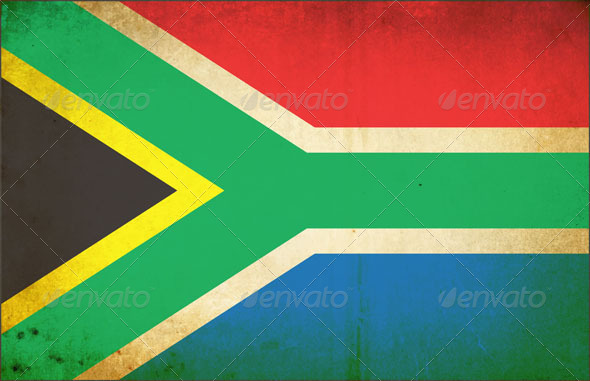 Grunge Dirty South African Flag  - Vectors