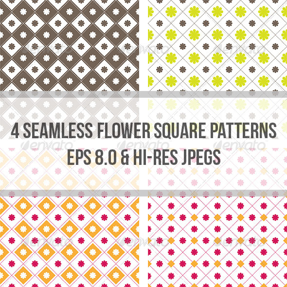 Flower Square Seamless Pattern Background - Backgrounds Decorative