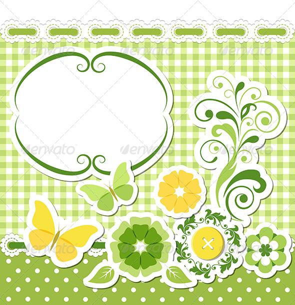 Floral Scrapbook Green Set - Decorative Symbols Decorative