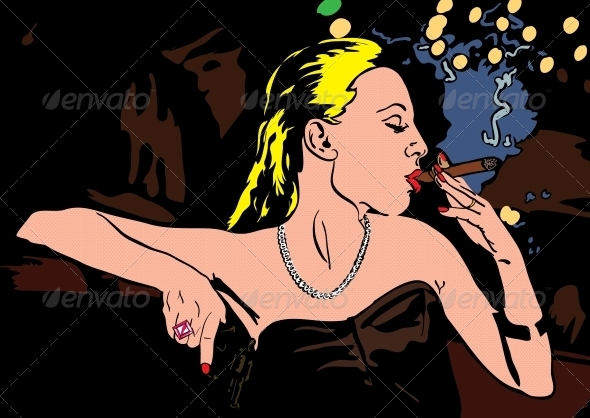 Woman Smoking Illustration - People Characters
