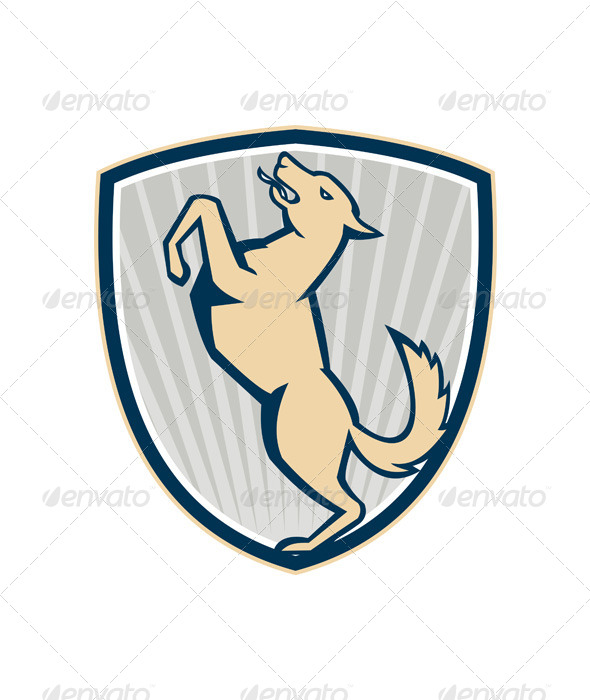 Prancing Dog Side Shield - Animals Characters