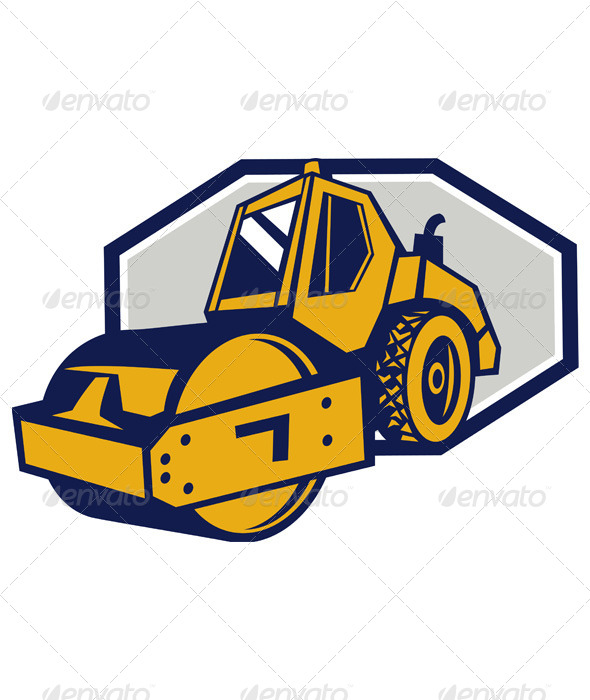 Flat Drum Road Roller Retro - Man-made Objects Objects