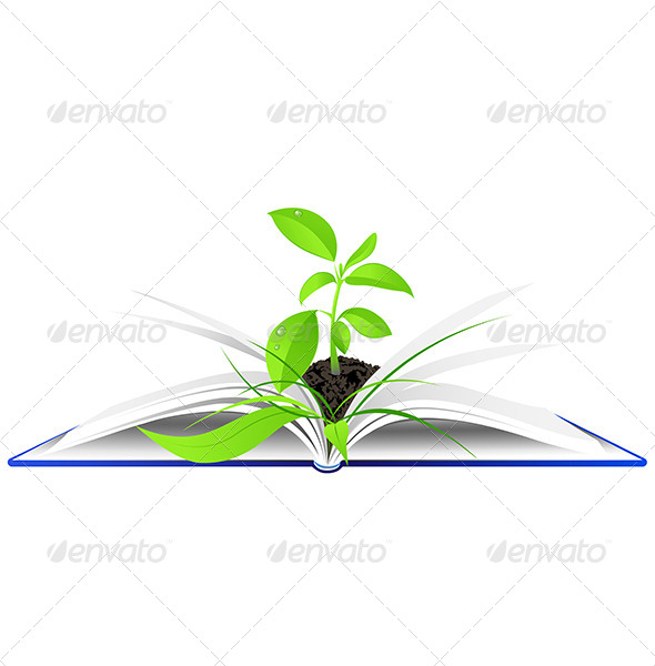 Open Book with Young Green Plant - Flowers & Plants Nature