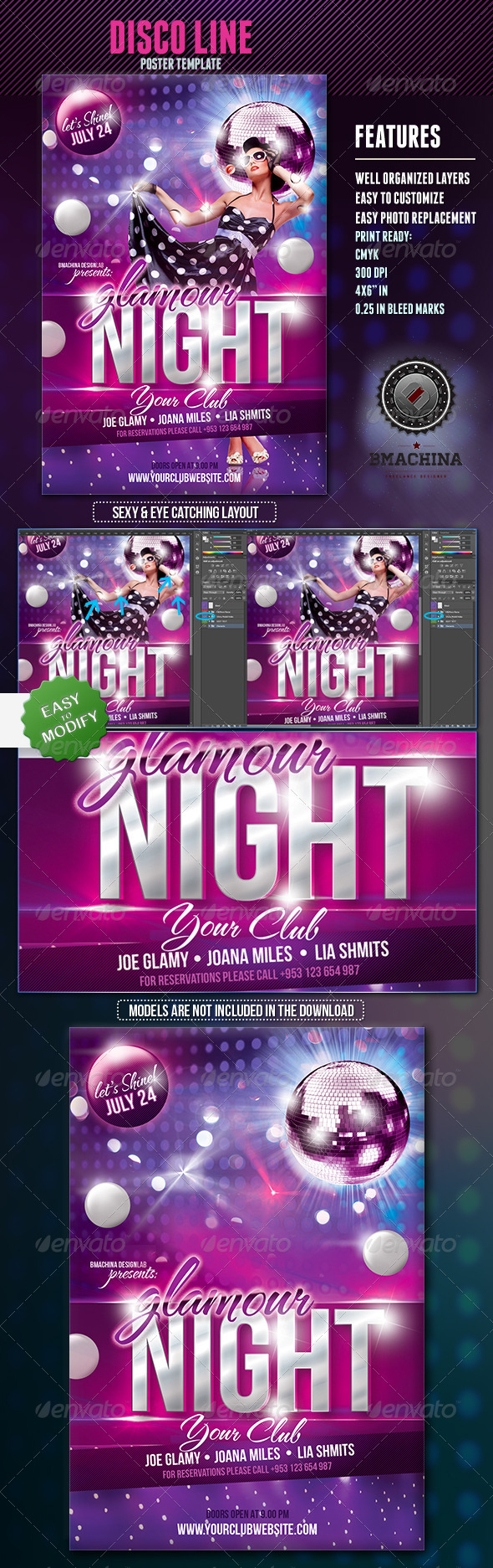 GlamourNight - Flyer Template - Clubs & Parties Events