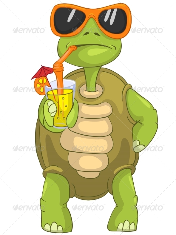 Turtle Drinking Cocktail. - Animals Characters