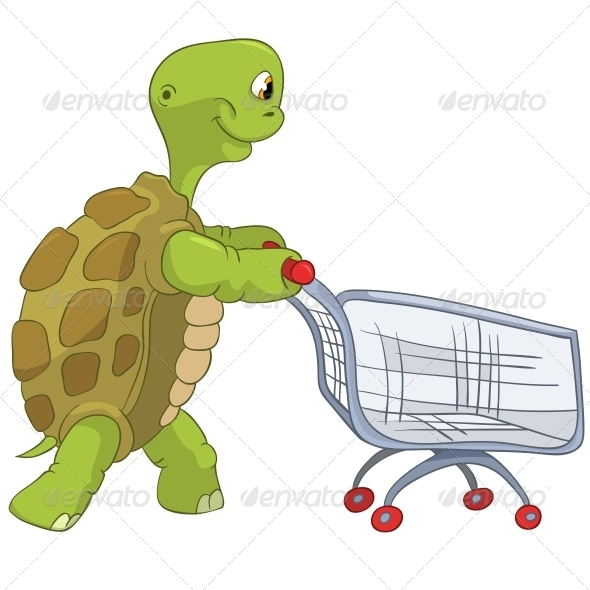 Turtle. Shopping. - Animals Characters