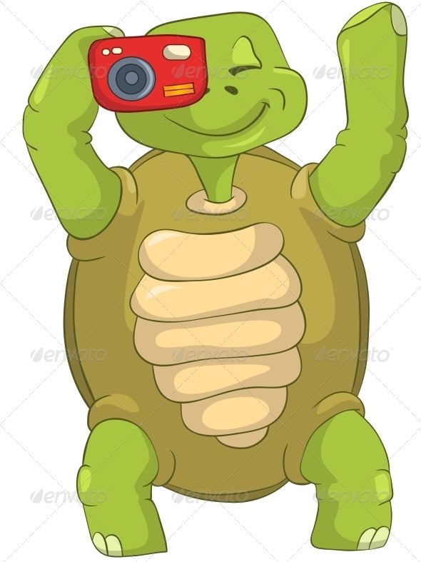 Turtle. Tourist - Photographer. - Animals Characters